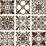 Retro floral ornaments vector set Free Vector