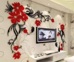 Butterfly tv wall acrylic 3d relief wall sticker Free Vector