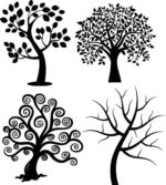 Spiral Tree Silhouette Vectors Free Vector