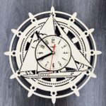 Laser Cut Ships Wheel Wooden Nautical Wall Clock Free Vector