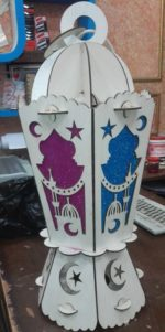 Laser Cut Ramadan Wooden Lantern Fanoos Free Vector