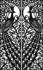 Laser Cut Door Design Peacock Free CDR Vectors Art